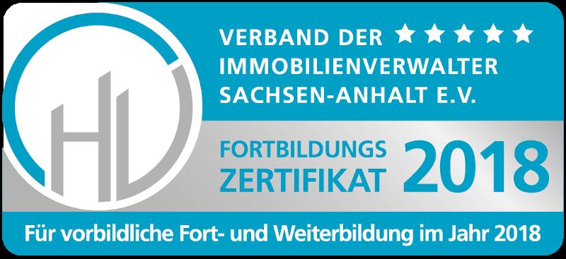 Zertifikat für vorbildliche Fort- und Weiterbildung 2018 - vdiv Sachsen-Anhalt