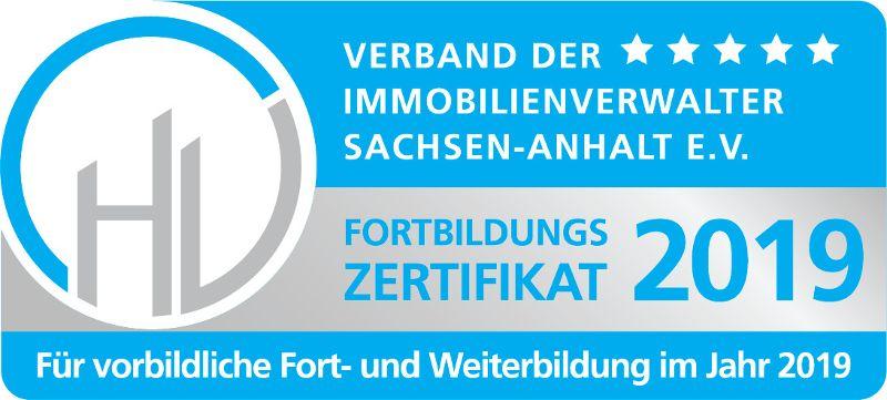 Zertifikat für vorbildliche Fort- und Weiterbildung 2019 - vdiv Sachsen-Anhalt