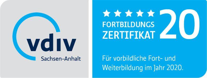 Zertifikat für vorbildliche Fort- und Weiterbildung 2020 - vdiv Sachsen-Anhalt
